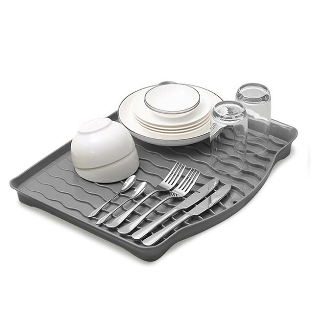 Cушка-поддон для посуды без органайзера настольная, серая MVM DR-01 GRAY